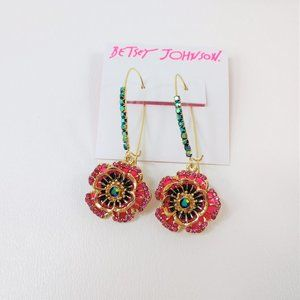 Betsey Johnson Flower Dangle Earrings New